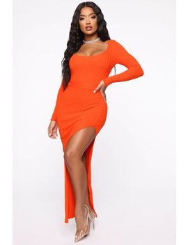 Looking For You Maxi Sweater Dress   Orange by Fashion Nova