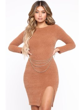 Dressed In Chains Sweater Midi Dress   Brown by Fashion Nova