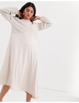 Asos Design Sweat Midi Dress With Slinky Hem by Asos Design