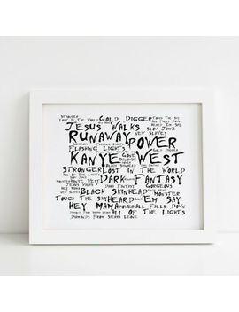Kanye West Poster, Greatest Hits, Framed Original Art, Album Print Lyrics Gift by Ebay Seller