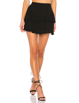 Becky Ruffle Tier Skirt In Black by Superdown