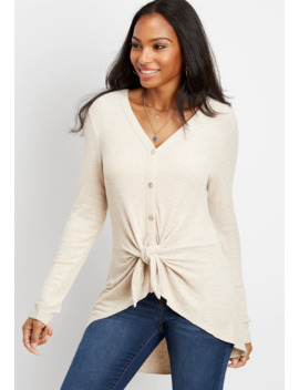 Long Sleeve Front Tie Duster Tee by Maurices