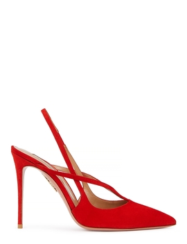 Soul 105 Red Slingback Suede Pumps by Aquazzura