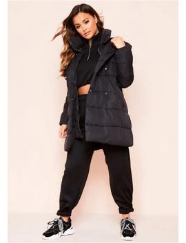 Tomasa Black Longline Oversized Puffer Coat by Missy Empire