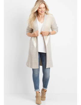 Chevron Colorblock Open Front Duster Cardigan by Maurices