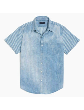 Striped Slim Casual Short Sleeve Chambray Shirt by J.Crew