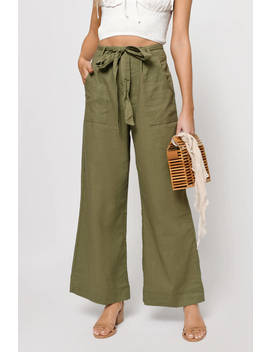 Casual Times Olive Wide Leg Pant by Tobi