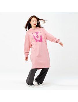 Women Mickey Art Kate Gibb Hooded Sweat Long Sleeve Dress by Uniqlo