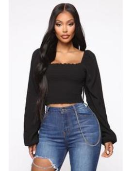 If I Can't Have You Smocked Top   Black by Fashion Nova
