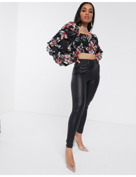 Missguided Petite   Crop Top à Fleurs Et Volants by Missguided