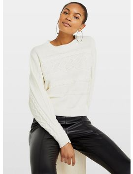 Cream Cable Batwing Knitted Jumper by Miss Selfridge