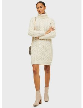 Ivory Cable Roll Neck Knitted Dress by Miss Selfridge