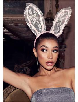 Shelley Pink Lace Bunny Ear Headbands by Missy Empire