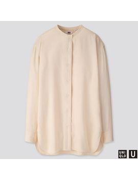 Women Uniqlo U Drape Twill Stand Collar Long Sleeve Shirt by Uniqlo