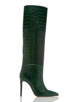 Knee High Croc Embossed Leather Boots In Green by Paris Texas