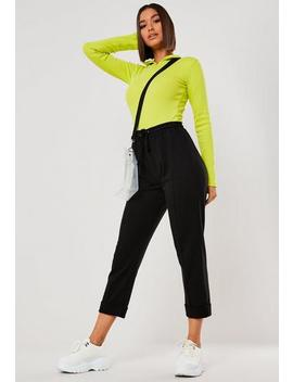 Black Seam Front Turn Up Joggers by Missguided