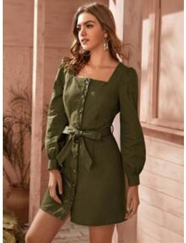 square-neck-puff-sleeve-belted-fitted-dress by sheinside