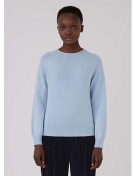 Women's Lambswool Crew Neck Jumper In Blue Jeans by Sunspel