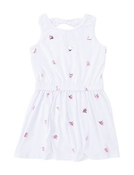 White & Pink Foil Unicorn Bow Back Sleeveless Dress   Girls by Poof Apparel