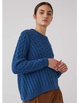 Women's Merino Wool Asymmetric Cable Knit Jumper In Cobalt Blue by Sunspel