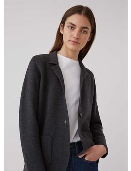 Women's Merino Wool Knitted Milano Blazer In Charcoal Melange by Sunspel