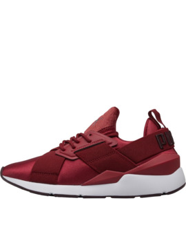 Puma Womens Muse Satin Ii Trainers Pomegranate/Puma White by Puma