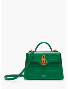 Mulberry Mini Seaton Croc Embossed Leather Shoulder Bag, Emerald Green by Mulberry