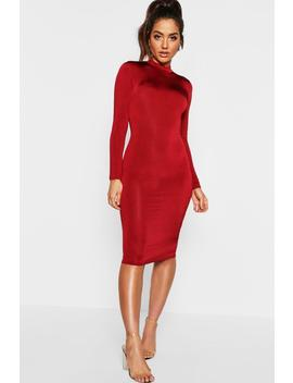 long-sleeve-disco-slinky-bodycon-dress by boohoo