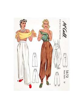 Vintage Sewing Pattern 1940s High Waist Trousers Workwear Or Jodhpurs Sewing Pattern Pick Your Size Xs S M L Xl by Etsy