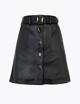 Button Front A Line Mini Skirt by Standard Tracked: