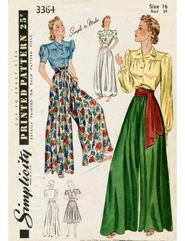 Vintage Sewing Pattern 1930s 1940s Palazzo Pants Wide Leg Trousers Lounge Blouse Sash Belt Bust 32 34 36 38 40 by Etsy