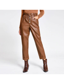 Beige Faux Leather Paperbag Button Trousers by River Island
