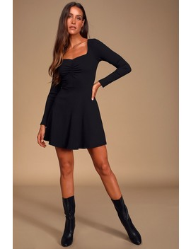 Putting It Simply Black Ribbed Long Sleeve Skater Dress by Lulus
