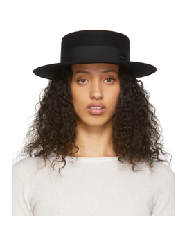 Black Felt Kiki Timeless Hat by Maison Michel