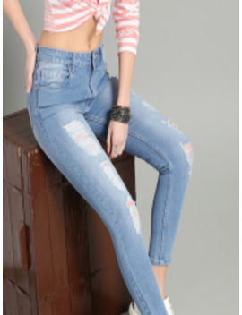 Women Blue Skinny Fit Mid Rise Highly Distressed Stretchable Cropped Jeans by Roadster