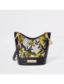 Grey Floral Jacquard Cross Body Bucket Bag by River Island