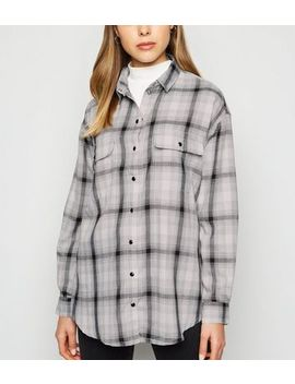 Light Grey Check Longline Shirt by New Look