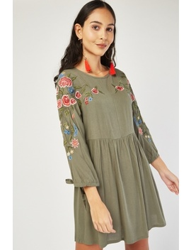 Embroidered Flower Smock Dress by Everything5 Pounds