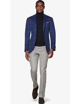 Jort Blue Check Jacket by Suitsupply