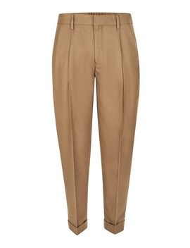 Camel Twin Pleat Tapered Smart Trousers by Topman
