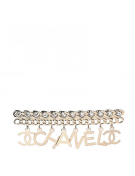 Chanel Crystal Cc Logo Charms Brooch Gold by Chanel