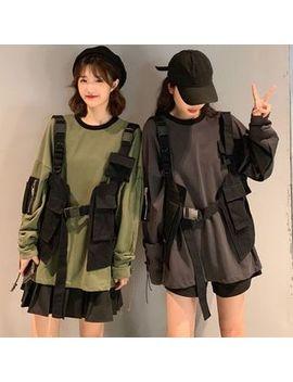 Ourea   Color Block Loose Fit Sweatshirt / Cargo Vest by Ourea
