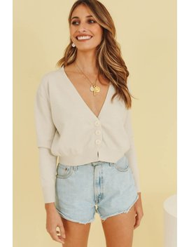 Heaven Sent Button Front Knit Top // Natural by Vergegirl