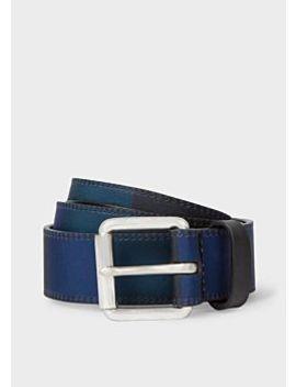 Men's Navy Nylon Check Leather Belt by Paul Smith