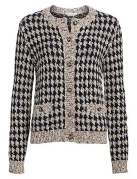Houndstooth Lurex Cotton Cardigan by Etro