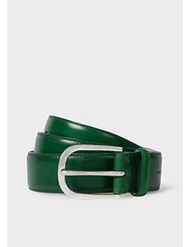 Men's Green Leather Belt With Silver Buckle by Paul Smith