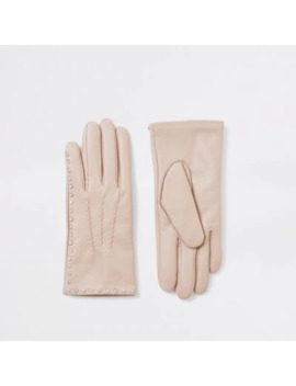 Beige Leather Diamante Embellished Gloves by River Island