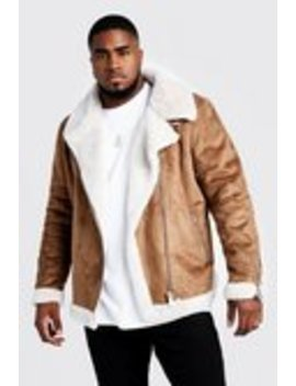 Big & Tall Faux Fur Lines Suede Aviator by Boohoo Man
