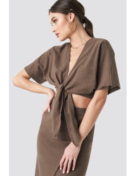 Tied Front Linen Look Blouse Braun by Na Kd Trend