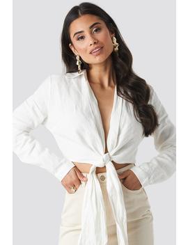 Linen Cropped Shirt Weiß by Beyyoglu